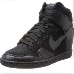 NWOT Nike Dunk Sky High Black Suede Wedge Sneakers